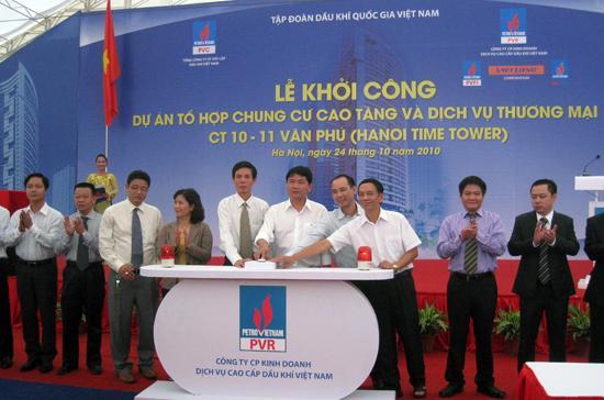 Lãnh đạo Petro Vietnam và chủ đầu tư, nhà thấu ấn nút khởi công dự án.