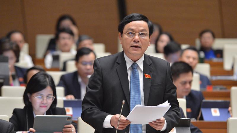 Đại biểu Hoàng Đức Thắng - Đoàn Đại biểu Quốc hội tỉnh Quảng Trị, phát biểu tại phiên thảo luận sáng 3/11 - Ảnh: Cổng Thông tin Quốc hội.