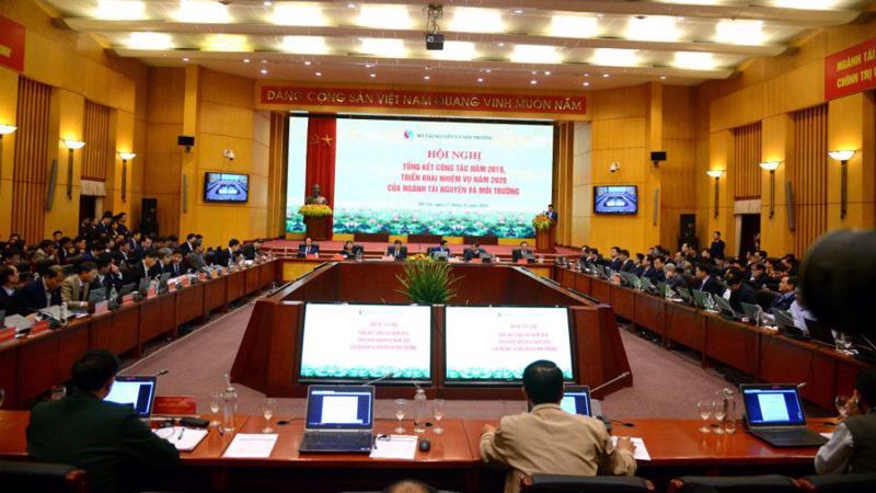 Toàn cảnh hội nghị triển khai nhiệm vụ năm 2020 của Bộ Tài nguyên và Môi trường ngày 27/12.