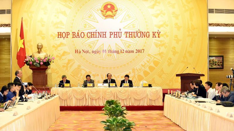 Bộ trưởng - Chủ nhiệm Văn phòng Chính phủ Mai Tiến Dũng chủ trì họp báo Chính phủ chiều 1/12.