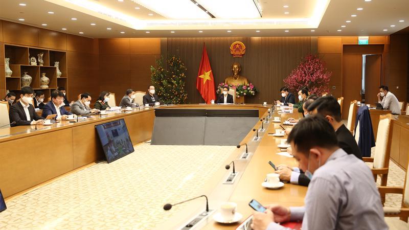 Cuộc họp Ban Chỉ đạo quốc gia phòng chống dịch Covid-19 chiều mùng 2 Tết. Ảnh - VGP/Đình Nam.