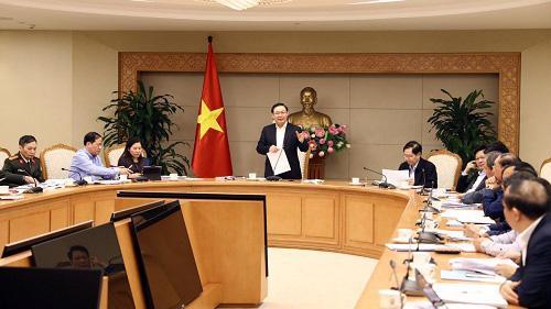 Phó thủ tướng Vương Đình Huệ, Trưởng ban Chỉ đạo chủ trì cuộc họp - Ảnh: VGP