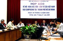 Họp báo giới thiệu Hội nghị xúc tiến đầu tư của Việt Nam vào Campuchia - Ảnh: Anh Quân.