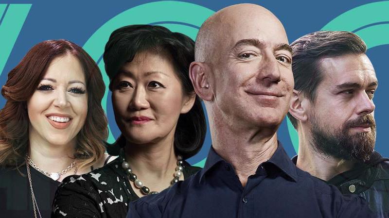 Từ trái qua phải: Lynsi Snyder, người thừa kế In N Out Burger; Thai Lee, đồng sáng lập SHI International; Jeff Bezos, người sáng lập, CEO Amazon; và Jack Dorsey, CEO của Twitter và Square - Ảnh: Forbes.