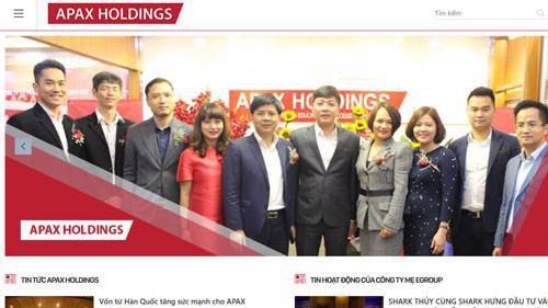 Trang web của Công ty cổ phần Đầu tư Apax Holdings (mã IBC-HOSE).