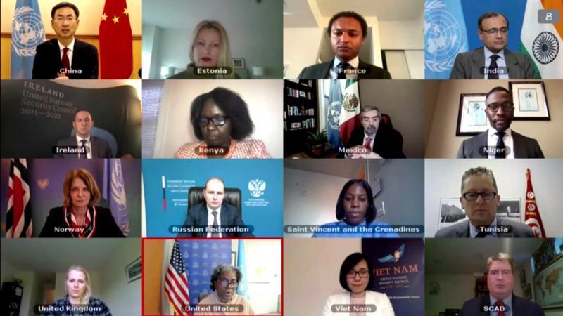 Cuộc họp thông qua Tuyên bố Chủ tịch Hội đồng Bảo An ngày 10/3 - Ảnh: Bộ Ngoại giao