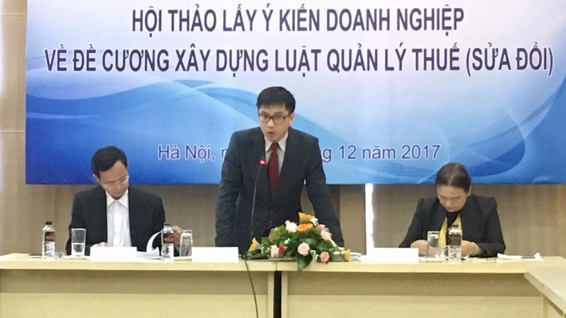 Hội thảo lấy ý kiến doanh nghiệp về đề cương xây dựng luật quản lý thuế (sửa đổi) được Phòng Thương mại và công nghiệp Việt Nam (VCCI) tổ chức sáng 5/12.