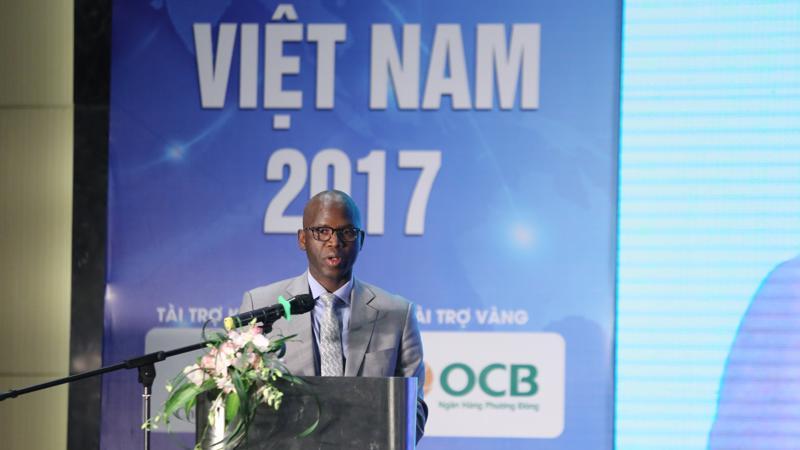 Ông Ousmane Dione, Giám đốc Quốc gia của Ngân hàng Thế giới (WB) tại Diễn đàn Logistic Việt Nam 2017 - Ảnh: Quang Phúc.
