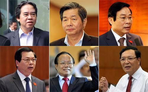 Ông Nguyễn Văn Bình, ông Bùi Quang Vinh, ông Nguyễn Bắc Son, ông Vũ Huy Hoàng, ông Hoàng Tuấn Anh và ông Phạm Vũ Luận.