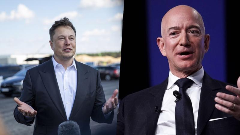 Tỷ phú Elon Musk (trái) và Jeff Bezos - Ảnh: Getty Images