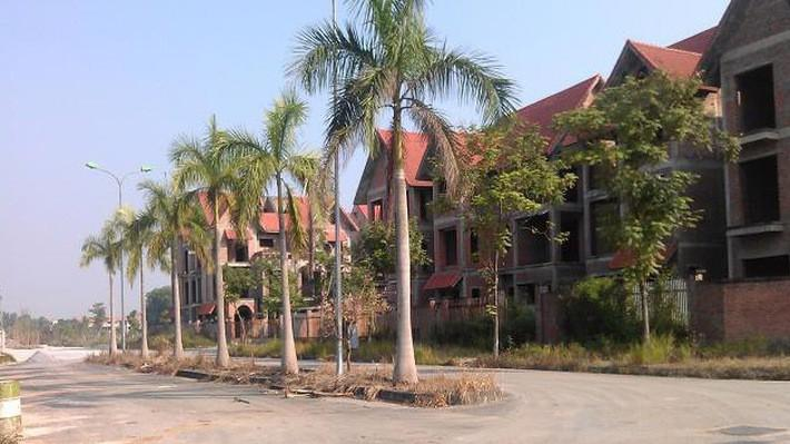 Bên trong dự án khu đô thị Quang Minh rộng 45 ha là hàng trăm căn biệt thự, liền kề bỏ hoang hàng chục năm nay.