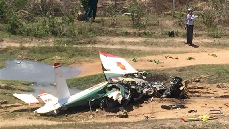 Hiện trường vụ tai nạn máy bay quân sự rơi tại Khánh Hòa, ngày 14/6.
