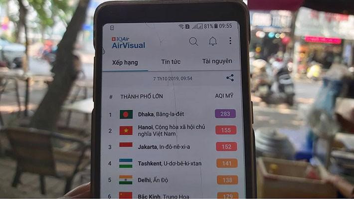 """Sáng nay (7/10, tại thời điểm 9h55') là một trong những ngày """"may mắn"""" Hà Nôi không đứng vị trí số 1 các thành phố ô nhiễm nhất thế giới trên ứng dụng AirVisual - Ảnh: T.Diệu."""