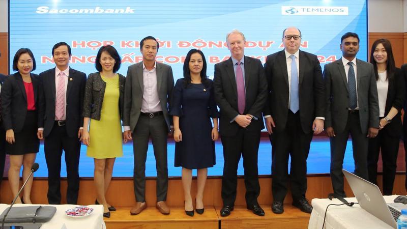 Lãnh đạo Sacombank và Temenos tại buổi Khởi động dự án nâng cấp hệ thống ngân hàng lõi T24 lên phiên bản R17.