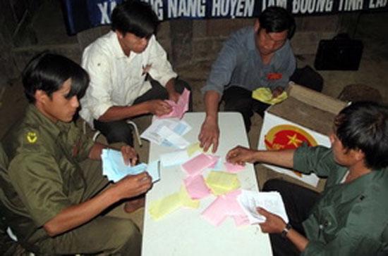 Một tổ bầu cử đang tiến hành kiểm phiếu - Ảnh: TTXVN.