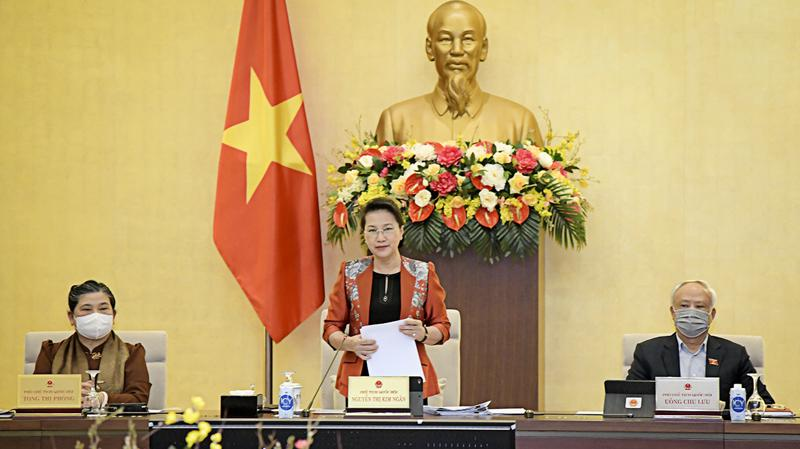 Chủ tịch Quốc hội Nguyễn Thị Kim Ngân phát biểu khai mạc phiên họp 53 của Ủy ban Thường vụ Quốc hội chiều 22/2 - Ảnh: Quochoi.vn
