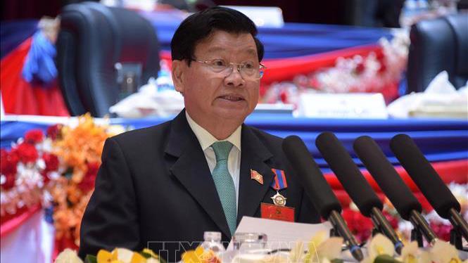Đồng chí Thongloun Sisoulith được bầu làm Tổng Bí thư Ban Chấp hành Trung ương Đảng Nhân dân Cách mạng Lào khóa 11 tại Hội nghị trung ương lần thứ nhất - Ảnh: TTXVN
