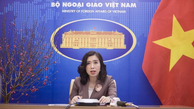 Người phát ngôn Bộ Ngoại giao Lê Thị Thu Hằng tại họp báo thường kỳ ngày 4/2 - Ảnh: Bộ Ngoại giao