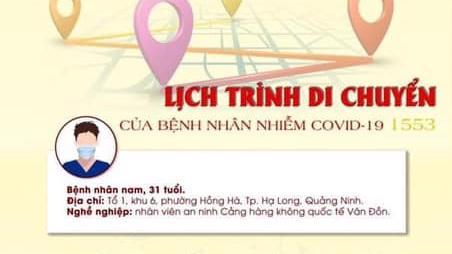 Lịch trình di chuyển của nam nhân viên an sinh Sân bay Vân Đồn nhiễm Covid-19.