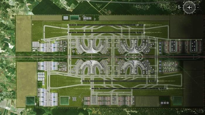 Mặt bằng tổng thể Cảng hàng không quốc tế Long Thành giai đoạn hoàn thiện (theo Pre-FS) - Ảnh từ báo cáo nghiên cứu khả thi giai đoạn 1.