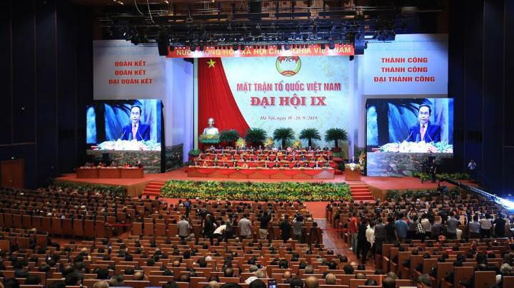 Phiên khai mạc trọng thể Đại hội Mặt trận Tổ quốc Việt Nam diễn ra sáng 19/9 - Ảnh: Quang Phúc.