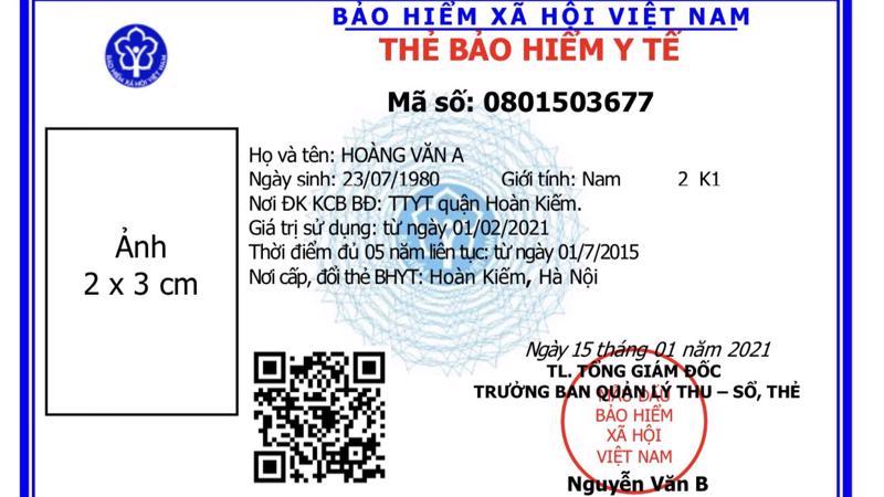 Mẫu thẻ bảo hiểm y tế mới. Ảnh - BHXH Việt Nam.