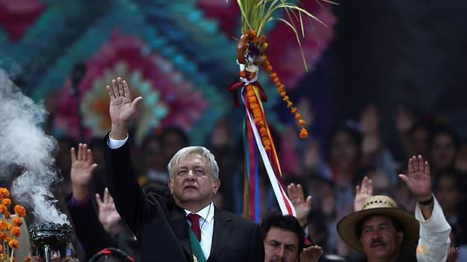 Tân Tổng thống Mexico Andres Manuel Lopez Obrador trong lễ tuyên thệ nhậm chức ngày 1/12 - Ảnh: Reuters.