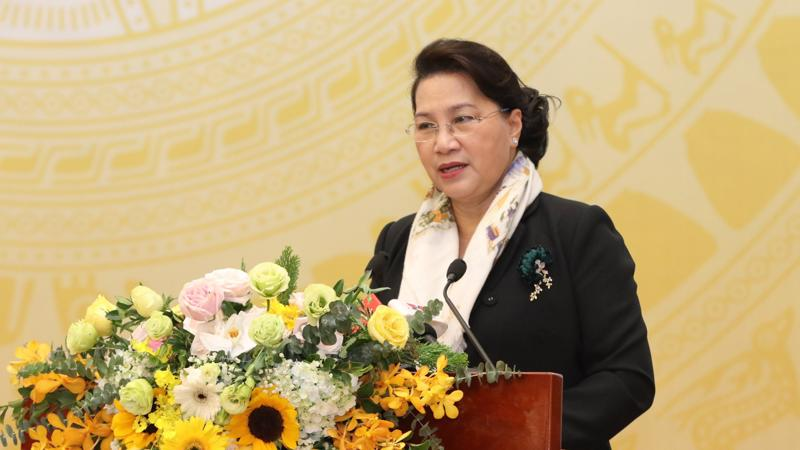 Chủ tịch Quốc hội Nguyễn Thị Kim Ngân phát biểu chỉ đạo hội nghị. Ảnh - Thắng Nguyễn.