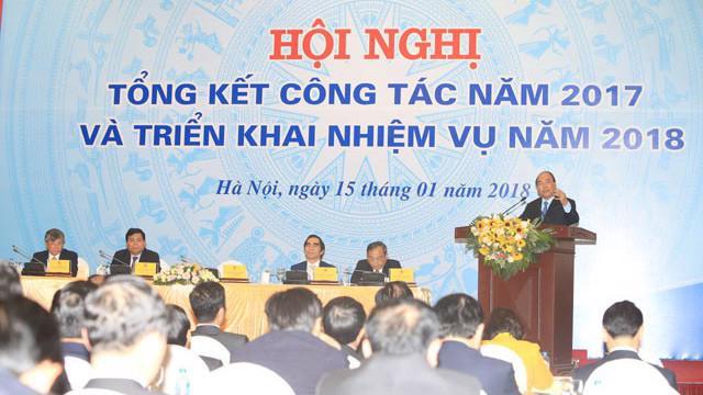 Thủ tướng Nguyễn Xuân Phúc phát biểu tại hội nghị tổng kết năm 2017 và kế hoạch năm 2018 của ngành Kế hoach và Đầu tư.