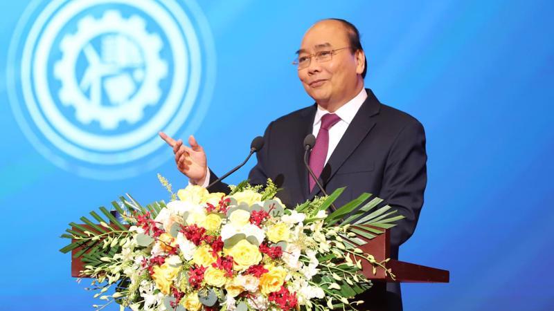 Thủ tướng Nguyễn Xuân Phúc phát biểu tại Hội nghị Thủ tướng Chính phủ với doanh nghiệp - Ảnh: Quang Phúc.