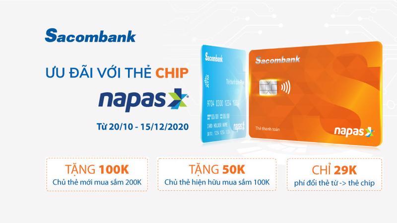 Khách hàng đang sở hữu thẻ từ Napas phát hành trước đây muốn thay thế thẻ chip liên hệ Hotline hoặc đến bất kỳ điểm giao dịch của Sacombank trên toàn quốc.