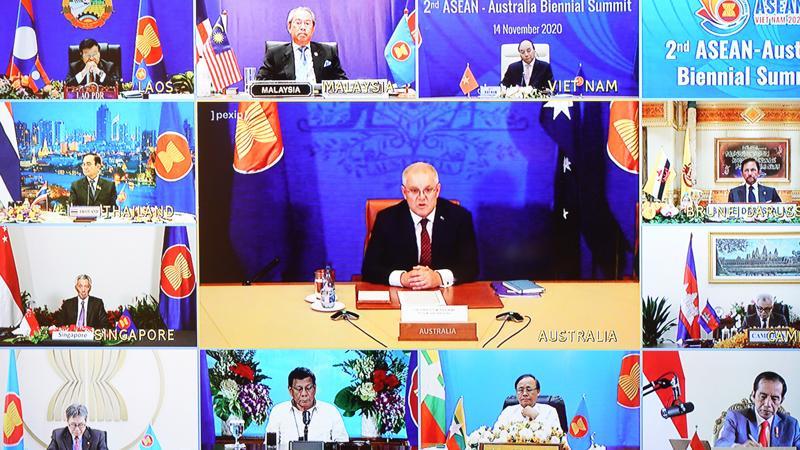Thủ tướng Australia Scott Morrison cùng lãnh đạo các nước ASEAN tham dự hội nghị ngày 14/11 - Ảnh: VGP