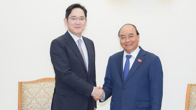 Thủ tướng Nguyễn Xuân Phúc tiếp ông Lee Jae Yong, Phó Chủ tịch Tập đoàn Samsung - Ảnh: VGP.
