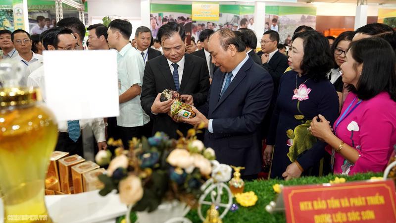 Thủ tướng tại không gian giới thiệu sản phẩm nông thôn tiêu biểu