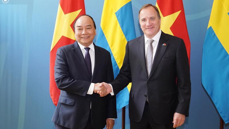 Thủ tướng Nguyễn Xuân Phúc và Thủ tướng Thụy Điển Stefan Löfven tiến hành hội đàm ngày 27/5.
