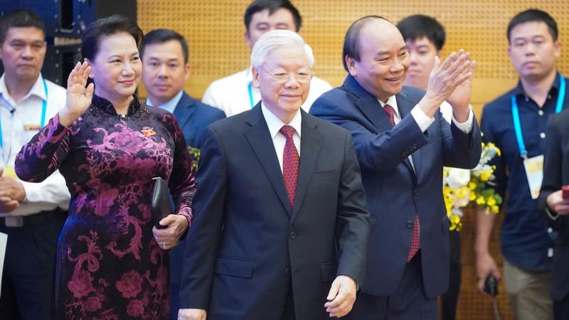 Tổng Bí thư, Chủ tịch nước Nguyễn Phú Trọng, Thủ tướng Nguyễn Xuân Phúc và Chủ tịch Quốc hội Nguyễn Thị Kim Ngân tham dự lễ khai mạc ASEAN 37 sáng 12/11 - Ảnh: VGP.