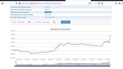 Sơ đồ giá côar phiếu NVL trong 1 năm qua.