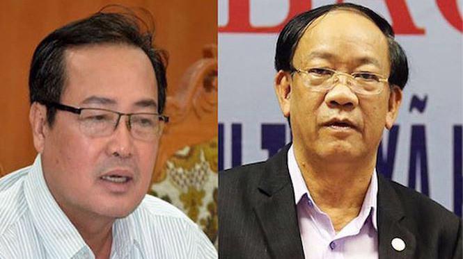 Phó chủ tịch UBND tỉnh Quảng Nam Huỳnh Khánh Toàn (trái) và ông Đinh Văn Thu - Chủ tịch UBND tỉnh.