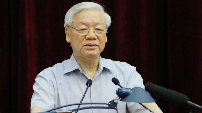 Tổng bí thư Nguyễn Phú Trọng phát biểu tại hội nghị toàn quốc về công tác phòng chống tham nhũng, ngày 25/6.
