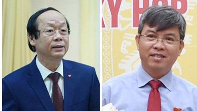 Thứ trưởng Bộ Tài nguyên và Môi trường Võ Tuấn Nhân (bên trái) và Phó chủ tịch UBND tỉnh Kiên Giang Nguyễn Lưu Trung.