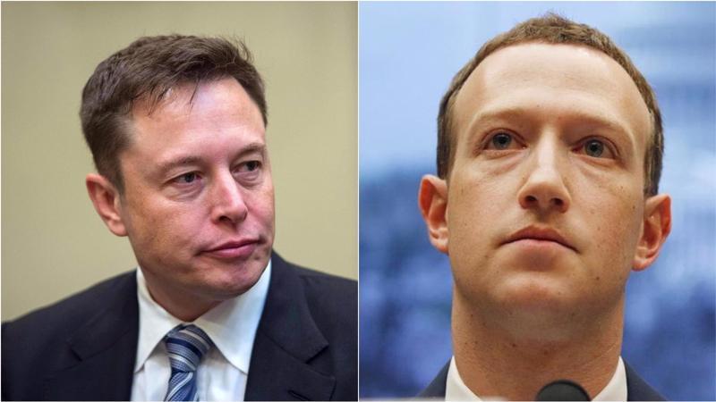 Elon Musk (trái) và Mark Zuckerberg.