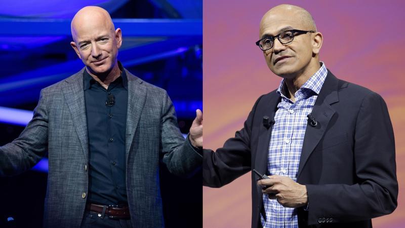 CEO của Amazon, Jeff Bezos (ảnh trái) và CEO Microsoft Satya Nadella - Ảnh: AP/Getty Images.