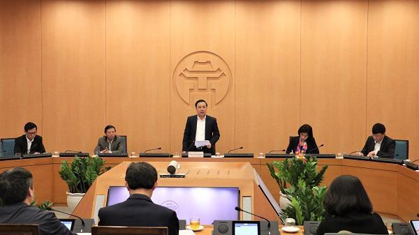 Phó Chủ tịch UBND thành phố Hà Nội Chử Xuân Dũng phát biểu kết luận tại cuộc họp - Ảnh: VGP
