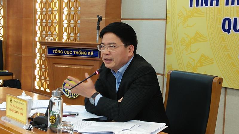 Ông Phạm Quang Vinh, Phó Tổng cục trưởng Tổng cục Thống kê tại họp báo sáng 6/1. Ảnh - N.Dương.