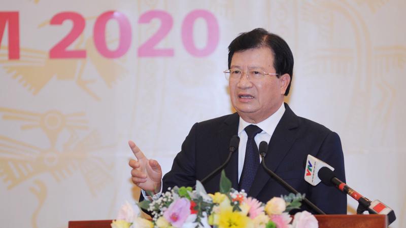 Phó thủ tướng Trịnh Đình Dũng phát biểu tại Hội nghị Tổng kết công tác năm 2019 và triển khai kế hoạch năm 2020 của ngành giao thông vận tải.