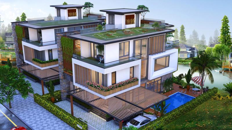 Điểm nhấn của Phú Cát City là hơn 300 căn biệt thự sinh thái nằm dọc những đại lộ cây xanh hoặc ven dòng suối tự nhiên.