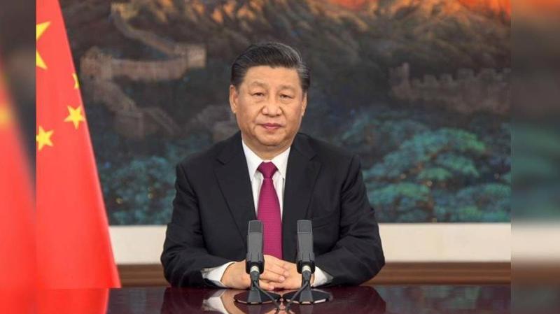 Ông Tập Cận Bình trong bài phát biểu qua video tại sự kiện trực tuyến của WEF - Ảnh: AP