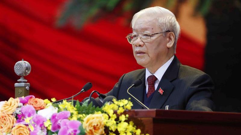 Tổng bí thư, Chủ tịch nước Nguyễn Phú Trọng phát biểu tại Đại hội 13 ngày 26/1/2021 - Ảnh: Xinhua
