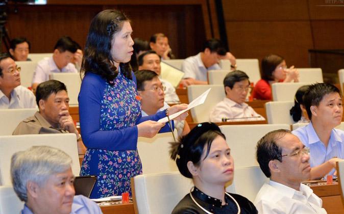 Đại biểu Trần Thị Phương Hoa (Hà Nội) phát biểu về dự án sân bay Long Thành.