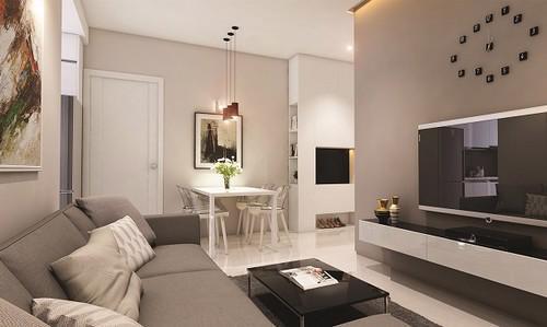 Các căn hộ ở đây có diện tích đa dạng từ 49m2 - 90m2, được thiết kế thông minh, phù hợp với các hộ gia đình trẻ.